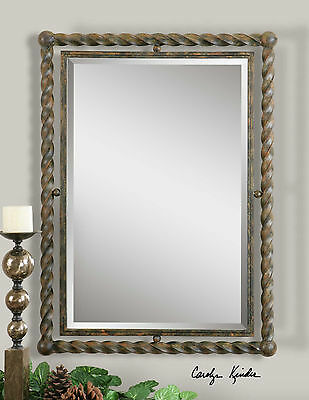"""Twisted Wrought Iron Hand Forged Wall Mirror Rustic Finish Metal Beveled  35""""H"""