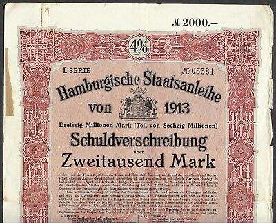 1913 German City of Hamburg 2,000 Mark 4% Bond and Certificates