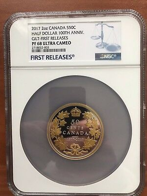 2017 50c Canada 100th Anniversary Gilt PF68 First Release