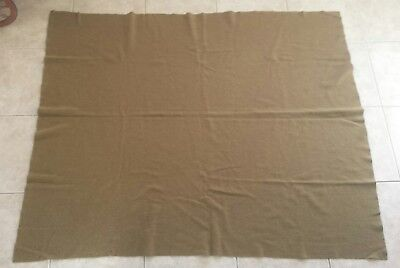 """Antique WWII U.S. Army Issued 100% Wool Blanket-~ 60""""×73"""" ~ Olive Green~Viintage"""