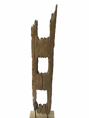 Antique Teak wood Rustic Old Farm Fence Posts sculpture on stand from Thailand