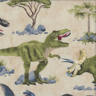 Dinosaurs on Beige T Rex Stegosaurus Palm Trees Boys Quilting Fabric FQ or Metre