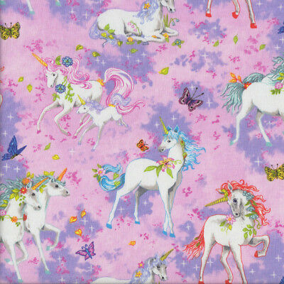 Pretty Unicorns on Pink Butterflies Girls Quilting Fabric FQ or Metre *New*