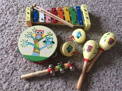 Musical Instrument Set Childrens Play Owl Wood Timber Great Condition