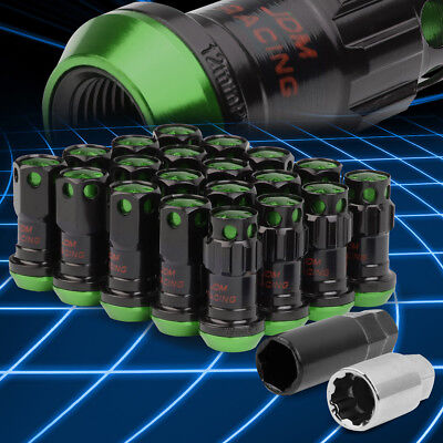 Spline Drive Rim Lug+Lock Nuts M12x1.5 Closed-End 22mm OD 45mm 20pcs Set/Green
