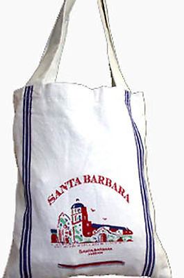 Vintage Style SANTA BARBARA Mission Cotton Tote Grocery Market Bag Carry All