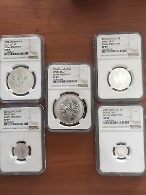 2004 Canada 5 Coin Royal Mint Privy $1 thru $5 Silver Coins. All NGC SP69