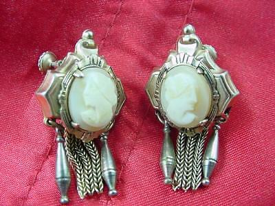 Antique Victorian Hard Stone Cameo Gold Plated Earrings Tassels Screw Backs#1792