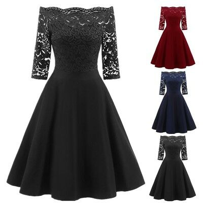 UK Women's Vintage 1950s 60s Lace Rockabilly Boat Neck Evening Prom Swing Dress