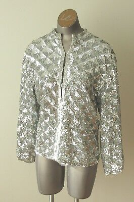 Vintage 50's/60's Silver Sequin Sweater/Jacket Size 44 Lambswool