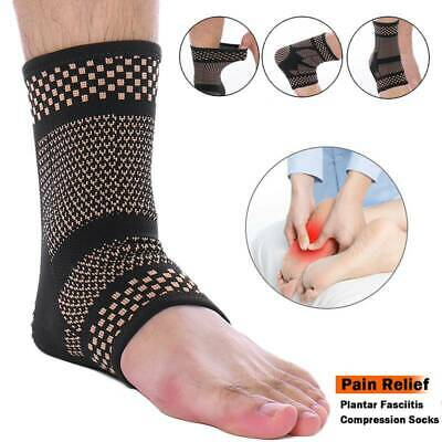 Copper Ankle Support Brace Compression Sleeve Socks Sports Foot Arthritis Pain