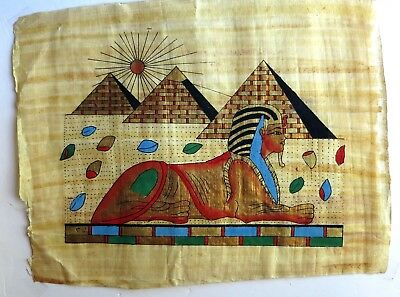 "EGYPT PAPYRUS- Hand Painted Papyrus Pyramids and Sphinx 17"" x 13"", new in case"