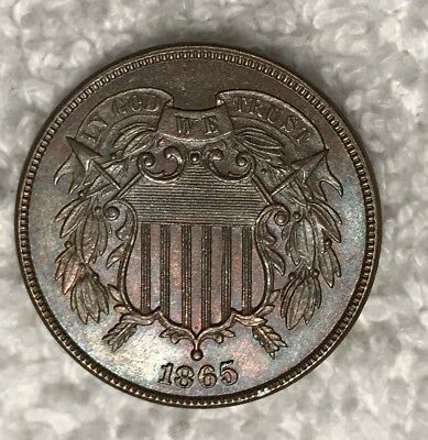 1865 2 Two Cent Piece BU Uncirculated MS