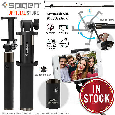 Genuine SPIGEN S530W Aluminum Extendable Wireless Selfie Stick for iPhone/Galaxy