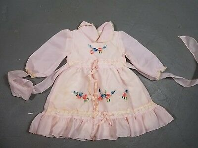Vintage Pink Embroidered Floral Sheer Lace Organza Baby Toddler Girl Dress