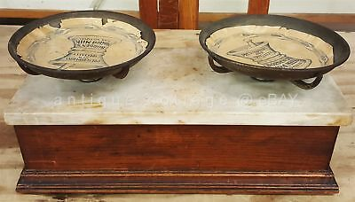 antique APOTHECARY BALANCE MARBLE WOOD SCALE PANS AD PAPER LINERS store GROCERY