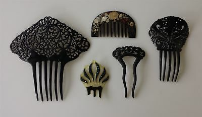 LOT antique 4pc ART DECO HAIR COMBS black & 1 top jewelry flapper