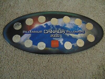 Canada 2000 Millennium Quarter Proof Set Complete In Case 12 Coins & 1 Medallion
