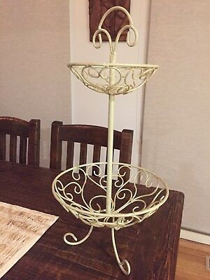 Shabby Chic/Country kitchen Two Tier Fruit Stand - Metal