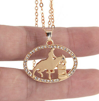 Horse & Western Jewellery Jewelry Ladies Sparkling Barrel Racer Necklace Gold