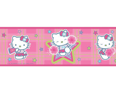 HELLO KITTY Cheerleader Pep Rally Cat Pink Peel & Stick Wallpaper Border