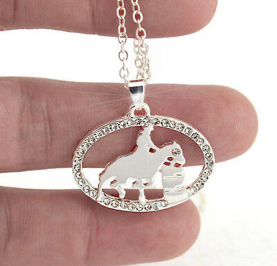 Horse & Western Jewellery Jewelry Ladies Sparkling Barrel Racer Necklace Silver