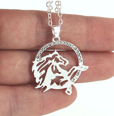 HORSE & WESTERN JEWELLERY JEWELRY LADIES SPARKLING HORSE HEAD NECKLACE SILVER  b