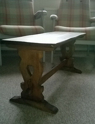 Rustic VTG / Antique Wooden Table Carved Hearts Coffee Side Table Bench Console
