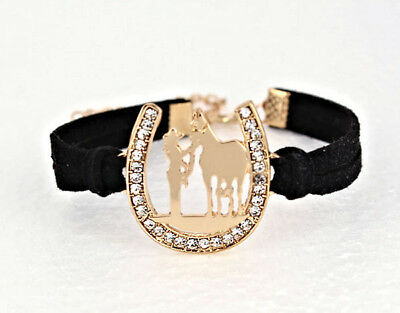 Horse & Western Jewellery Jewelry  Sparkling Cowgirl & Horse  Bracelet Gold