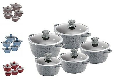 5pc Die Cast Granite Non Stick Deep Casserole Stockpot Induction Cooking Pan Set