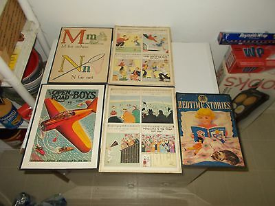 (LOT OF 5) Vintage - 1940's ERA AUTHENTIC ADS BOARDED - (2) PEPSI-COLA FRAMED 9