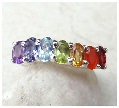 GENUINE 925 Sterling Silver CHAKRA SEMI PRECIOUS Gemstone RING SIZE N 1/2 ~ US 7