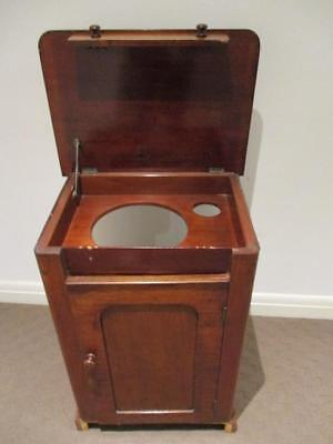 Antique Solid Cedar Wash Stand With Lift Up Lid Cupboard Basin Holes Cabinet