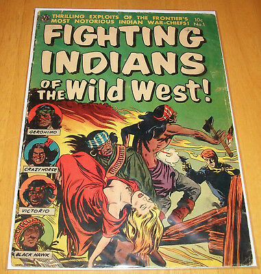 FIGHTING INDIANS OF THE WILD WEST Vol. 1 Issue #1 GOLDEN AGE Avon Comics 1952!!