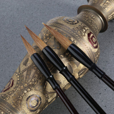 3* Excellent Wolf Hair Chinese Caligraphy Kanji Japanese Sumi Drawing Brush Set