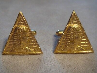 24Kt Gold Plated  Egyptian King Pyramid Cufflinks French Cuff Shirt