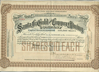 Undated Signed Santa Fe Gold & Copper Mining Co New Jersey Stock Certificate