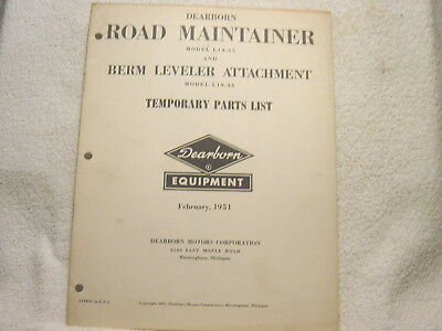Ford Dearborn Tractor Road Maintainer L19-35 Berm Leveler L19-36 Parts Manual