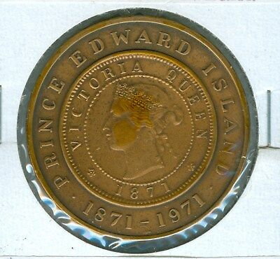 Encased Prince Edward Island 1871 Cent Commemerating 100 Years Since Issue