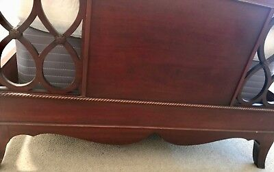 Vintage Twin Size Chippendale Mahogany Carved Bed & Matching 2-Drawer Nightstand