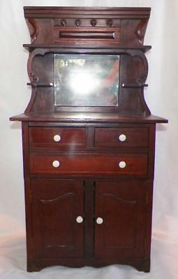 Childs Victorian Sideboard Server Walnut Furniture Porcelain Knobs Antique Toy