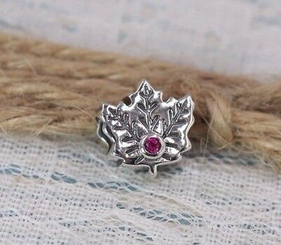 Pandora S925 Ale Maple Leaf Red Ruby Charm 791215SRU With Tissue And Pop-up Box