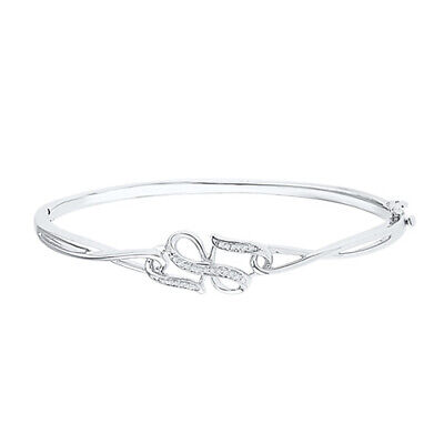 Holiday Sale 1/10 ct Natural Diamond Infinity Bangle Bracelet in Sterling Silver