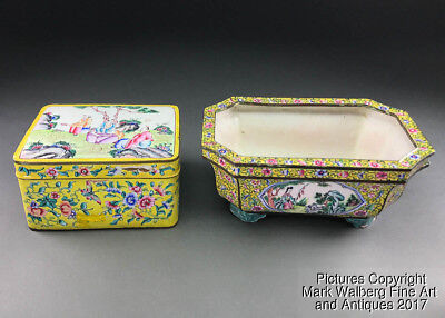 2 Items - Chinese Canton Enamel Box & Planter, Yellow Famille Rose, 19th Century