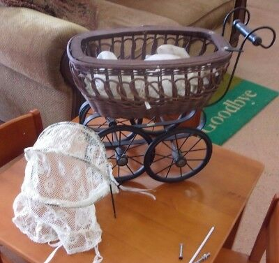 Vintage Enesco Wicker Doll Carriage W/Lace Canopy & Accessories