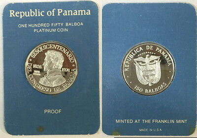 Panama 1976 150 Balboas Platinum Coin  Gem Bu  Proof Deep Cameo In Sealed Holder