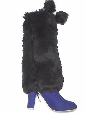 """D&Y Black Boot Protection Covers Furry Leg Warmers Faux Fur With Pom 15"""" Long"""