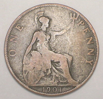 1901 UK Great Britain British One 1 Penny Old Queen Victoria Coin F