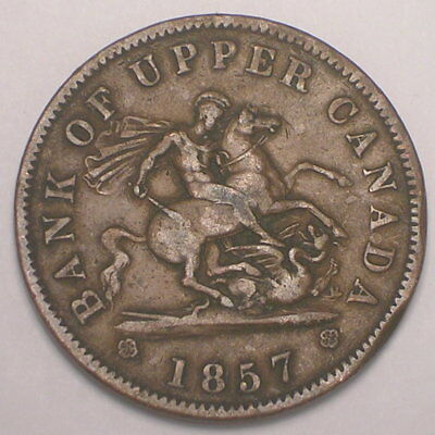 1857 Canada Canadian Upper Bank One 1 Penny Horse Token