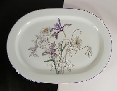 Block Spal Hillside Oval Serving Platter Watercolors Goertzen Daisy Iris Floral